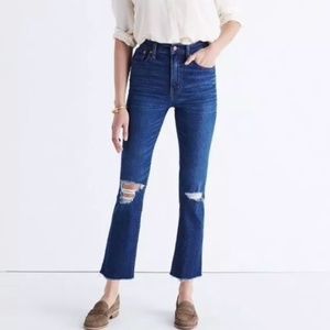 [Madewell] High Riser Distressed Crop Flares Jeans